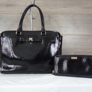 Kate Spade Patent Black Leather Satchel & Wallet